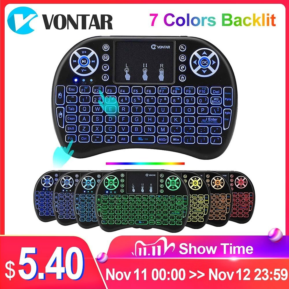US $7.62 39% OFF VONTAR I8 Wireless Keyboard Russian English Hebrew Version I8+ 2.4GHz Air Mouse Touchpad Handheld for Android TV BOX Mini PC air Mouse Touchpad keyboard Air Mouse Touchpadmouse Touchpad - AliExpress