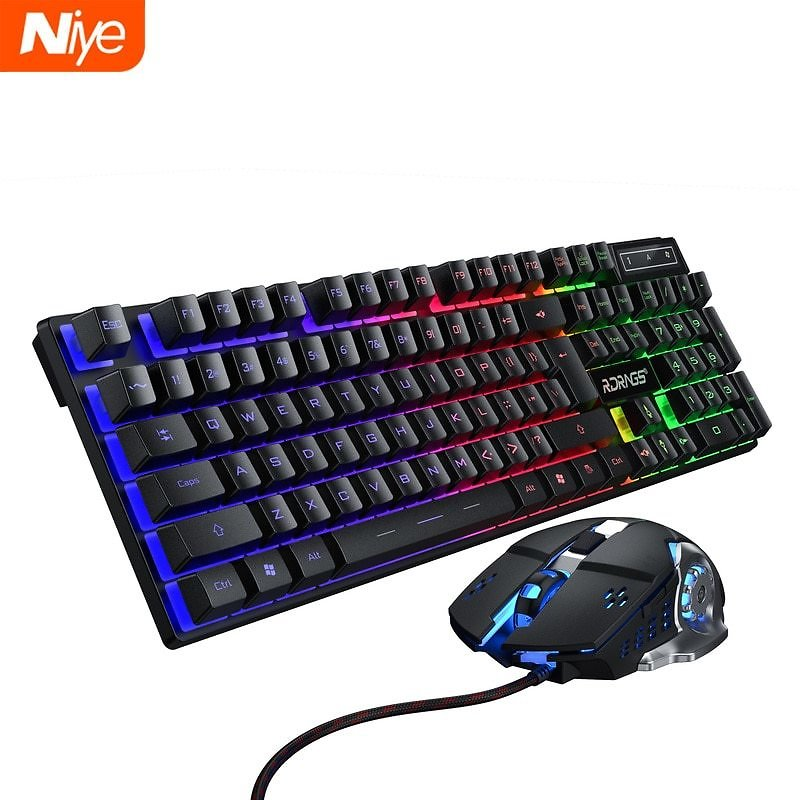 US $12.59 40% OFF Gaming Keyboard and Mouse Wired Backlight Mechanical Felling Keyboard Gamer Kit Silent 3200DPI Gaming Mouse Set for PC Laptop Keyboard Mouse Combos  - AliExpress