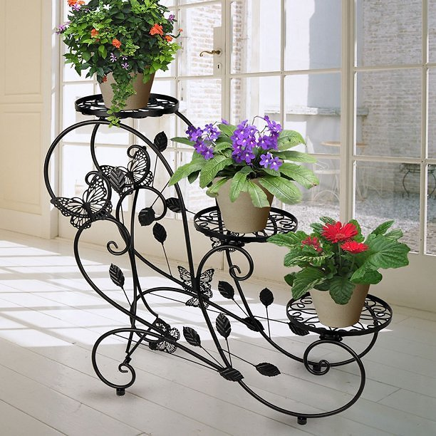 HLC Metal Potted Plant Display Stand Garden Patio Display Rack with 3-Flower Pot Holder, Black