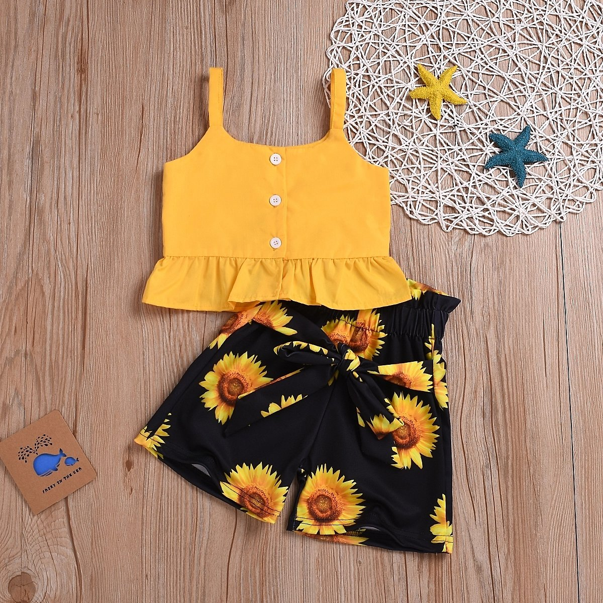 Baby / Toddler Solid Strappy Top and Sunflower Print Shorts Sets