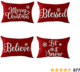 Set of 4 Happy Winter Snowflake Blessed Believe Let It Snow Merry Christmas Holiday Gift Decorative Lumbar Throw Pillow Cover Cushion Case For Sofa Living Room Cotton Linen Rectangle 12X20 Inches