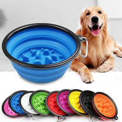 1 Pack Set Dog Portable Pet Bowl Food & Water Collapsible Dish Travel Fold-able