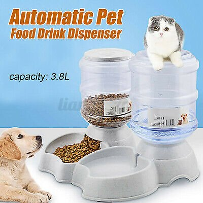 Automatic Water Food Pet Dog Cat Puppy Dispenser Feeder Bowl Dish Bottle 3.8L !