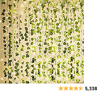 KASZOO High 84Ft 12 Pack Artificial Ivy Garland Fake Plants, Vine Hanging Garland with 80 LED String Light, Hanging for Home