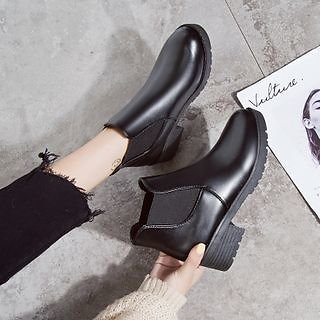 BARCA Faux Leather Platform Block-Heel Ankle Boots | YesStyle