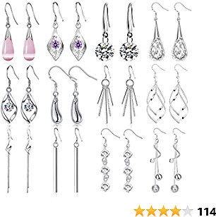 Jewdreamer 12 Pairs Classic Silver Plated Dangle Drop Earrings for Women Simple Long Thread Fashion Line Christmas Earrings Set