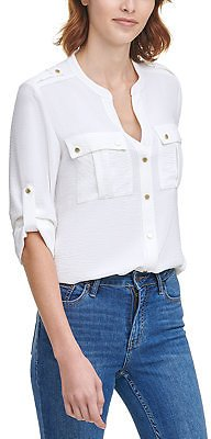 Textured Roll-Tab Blouse