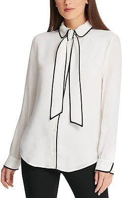 DKNY Piped-Trim Button-Up Blouse & Reviews - Tops - Women