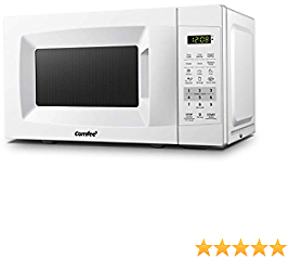 COMFEE' EM720CPL-PM Countertop Microwave Oven with Sound On/Off, ECO Mode and Easy One-Touch Buttons, 0.7Cu.Ft/700W, Pearl White (Renewed)
