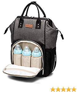 AOCKS Diaper Bag Organizer Insulated Waterproof Travel Backpack Large Capacity for Baby Care,Multi-Function, Stylish and Durable (Black Grey)