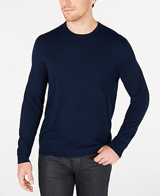 Alfani Men's Solid Crewneck Sweater, Created for Macy's & Reviews - Sweaters - Men