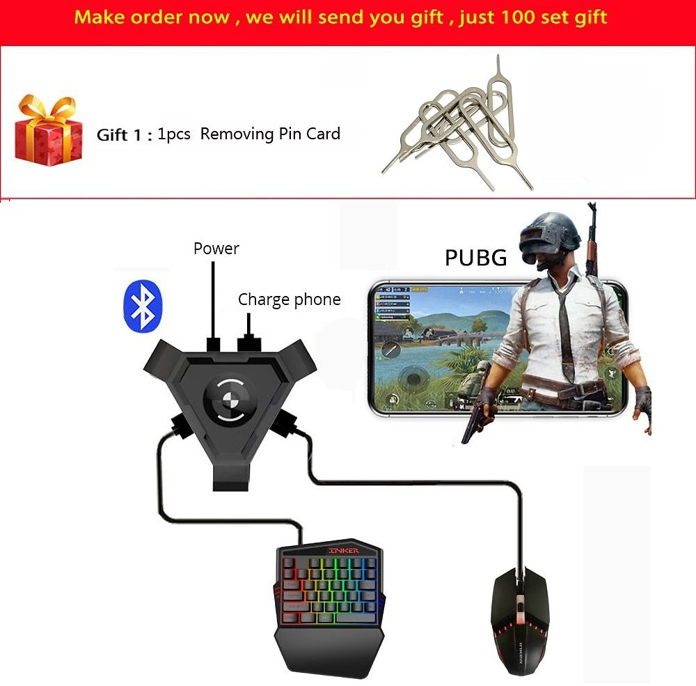 US $11.87 51% OFF|PUBG Mobile Gamepad Controller Gaming Keyboard Mouse Converter For Android Ios Phone IPAD Bluetooth 4.1 Adapter Free Gift|Keyboard Mouse Combos| - AliExpress