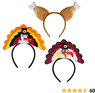 CandyHome Thanksgiving Turkey Hat, 3 Pcs Turkey Headband Holiday Costume Party Dress Up