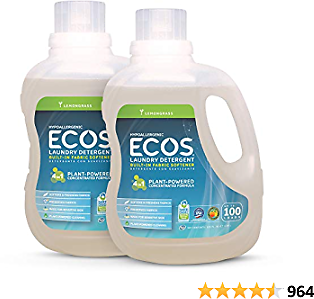 ECOS 2X Hypoallergenic Liquid Laundry Detergent, Non-Toxic, Lemongrass, 200 Loads, 100oz Bottle By Earth Friendly Products (Pack of 2)