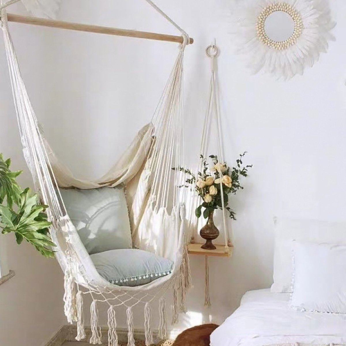 Hammock Chair Relax Hanging Macrame Swing Chair Cotton Weave for Superior Comfort & Durability Perfect for Indoor/Outdoor Home B