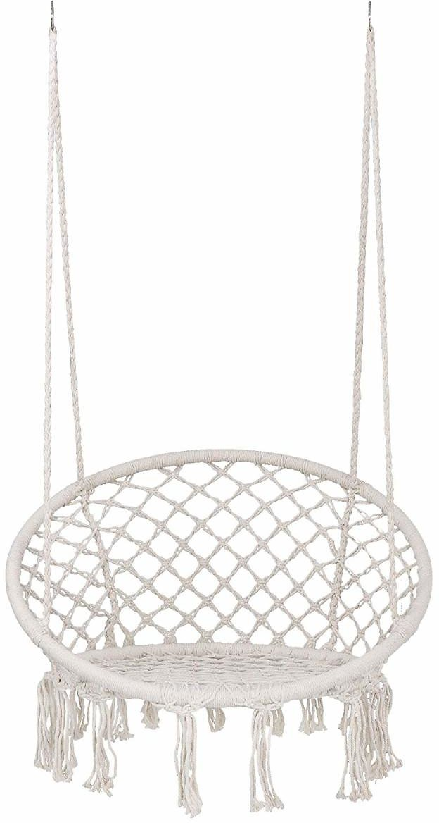 Classic Hammock Swing Chair New Macrame Bohemian Style Cotton Rope Hanging Spider Swing for Patio, Yard, Garden Indoor Outdoor
