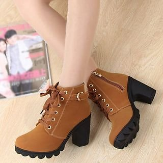 Zandy Shoes - Lace-Up Chunky-Heel Ankle Boots