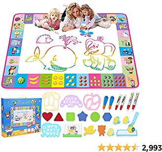 Water Doodle Mat - Kids Painting Writing Doodle Toy Board - Color Doodle Drawing Mat Bring Magic Pens