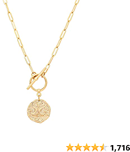 18k Gold Medallion Pendant Necklace Evil Eye Coin Pendant Turuqoise Moon and Star Charm Minimalist Jewelry for Women