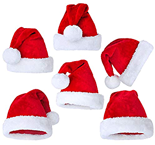 Supzone Christmas 6 Packs Plush Santa Hat Unisex Confortable Velvet Classic Red and White Adult and Kids Christmas Hats for Xmas Holiday Party