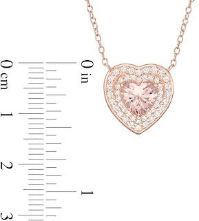 7.0mm Heart-Shaped Lab-Created Morganite and White Sapphire Pendant in Sterling Silver with 18K Rose Gold Plate|Zales