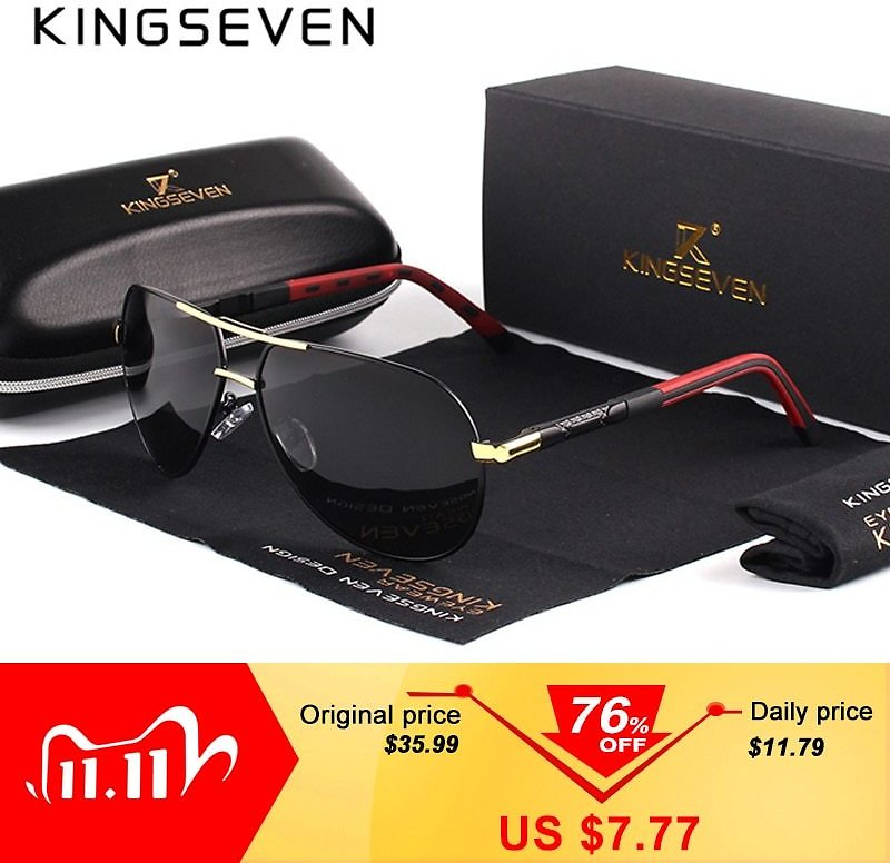 KINGSEVEN Men Vintage Aluminum Polarized Sunglasses Classic Brand Sun Glasses Coating Lens Driving Eyewear