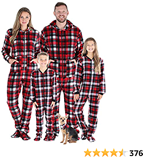 SleepytimePJs Family Matching Christmas Onesies Fleece Hooded Footed Pajamas