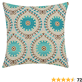 CaliTime Cushion Cover Throw Pillow Case Shell for Couch Sofa Home Decoration Luxurious Chenille Marigold Floral Garland Both Sides 18 X 18 Inches Ecru Turquoise