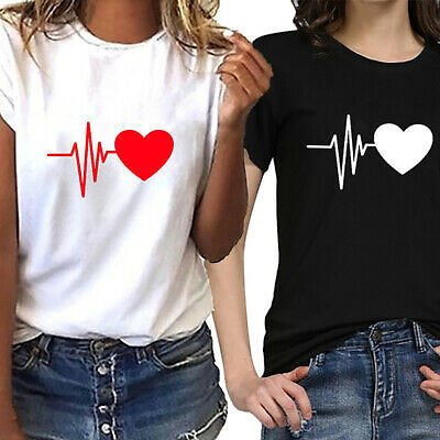 Short Sleeve Women T Shirt Crew Neck Tops Tee Heart Printed Blouse Casual Loose
