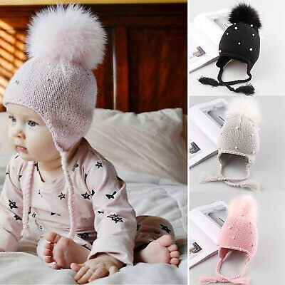 Baby Girl's Hat Pearl Beanie Hat Winter Warm Pom Bobble Cap Tie Ear Protection