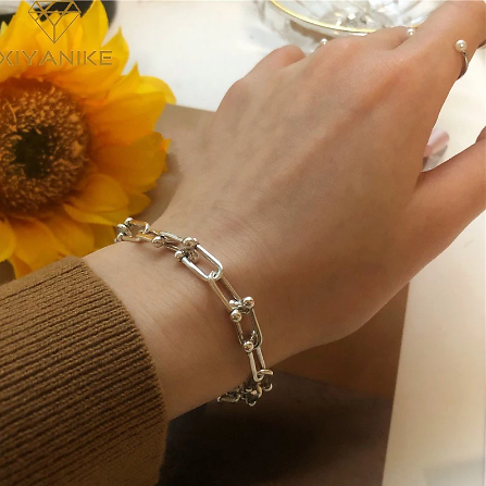 XIYANIKE 925 Sterling Silver Thick Chain Bracelet for Women Couple Creative Vintage Handmade Hasp Bracelet Birthday Jewelry Gift