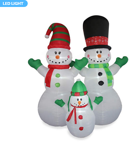 8' Inflatable LED Snowman Family