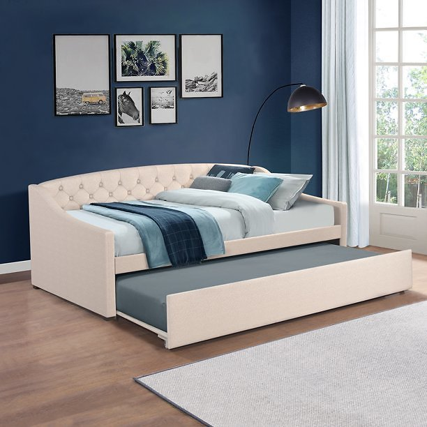Zoey Tufted Upholstered Twin Daybed With Trundle, Cream, By Hillsdale Living Essentials