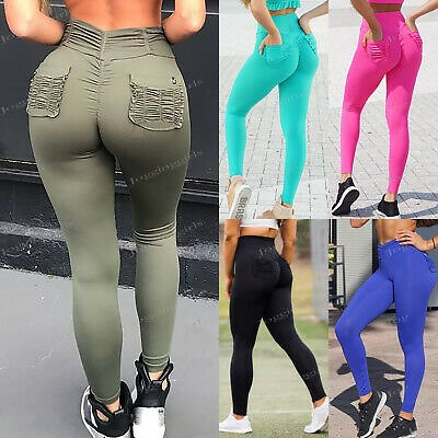 Women Yoga Pants High Waist PUSH UP Leggings Pockets Ruched Exercise Gym Fitness