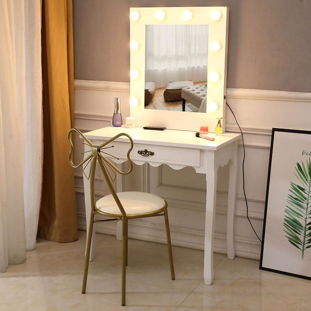 Zimtown White Vanity Set Makeup Dressing Table with 10 Warm LED Lights Makeup Mirror & Drawer for Bedroom,White