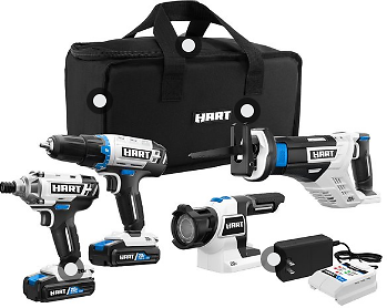 HART 20-Volt Cordless 4-Tool Kit with (2) 1.5Ah Lithium-Ion Batteries and 16-inch Storage Bag