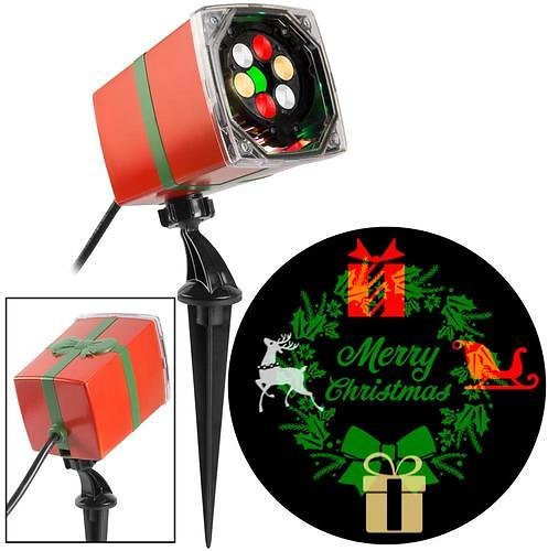 Gemmy Lightshow Swirling Multicolor LED Wreath Christmas Indoor/Outdoor Light Show Projector Lowes.com