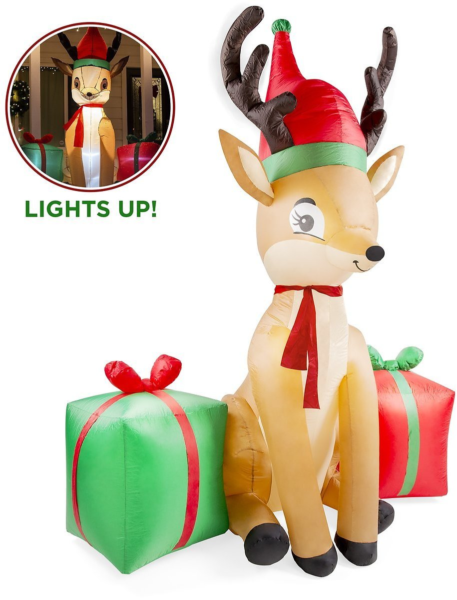 8ft Pre-Lit Inflatable Christmas Reindeer & Presents Yard Decoration