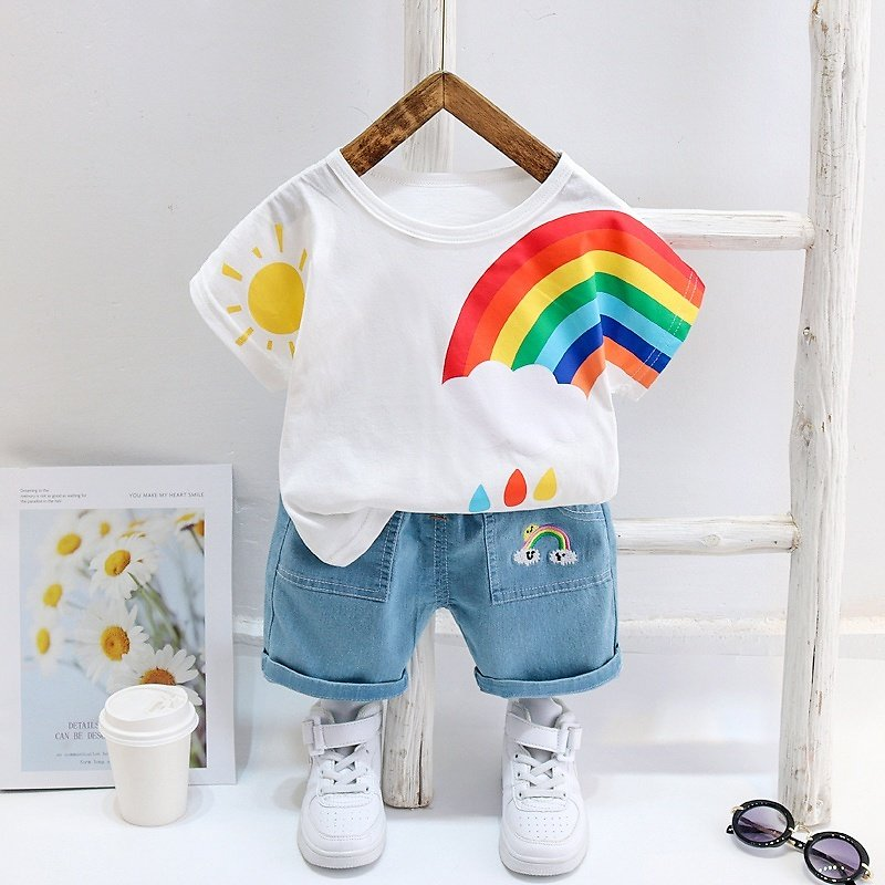 2-piece Baby / Toddler Boy Rainbow Print Tee and Jeans Sets