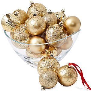 Holiday Lane Shine Bright Set of 27 Shatterproof Gold Gift Ornaments, Created for Macy's & Reviews - Holiday Shop - Home