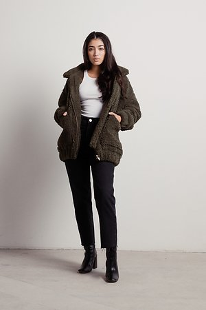 All The Way Olive Oversized Sherpa Jacket