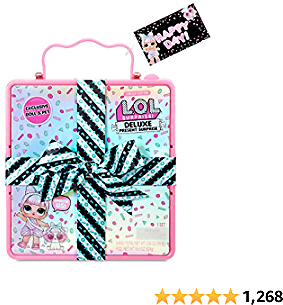 L.O.L. Surprise! Deluxe Present Surprise (Pink) with Limited Edition Doll and Pet In Party Gift Box Packaging With Surprise Treats, Outfits, Shoes, Confetti, Sand, Color Change, Water Fizz | Ages 4-15