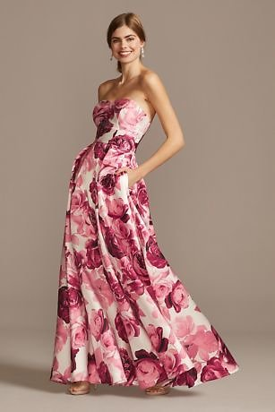 Floral Print Strapless Satin Gown with Pockets | David's Bridal