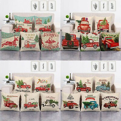 Red Truck Christmas Decor Outdoor Cojines Pine Tree Pillow Case Cushion Cover