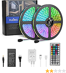 DLIANG 65.6ft/20M LED Strip Light Kit Flexible Rope Lights 5050 SMD RGB Non Waterproof for Home Kitchen Indoor and Outdoor Decoration