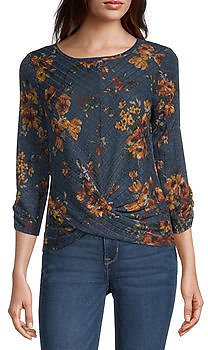 Juniors Womens Round Neck Knit Blouse