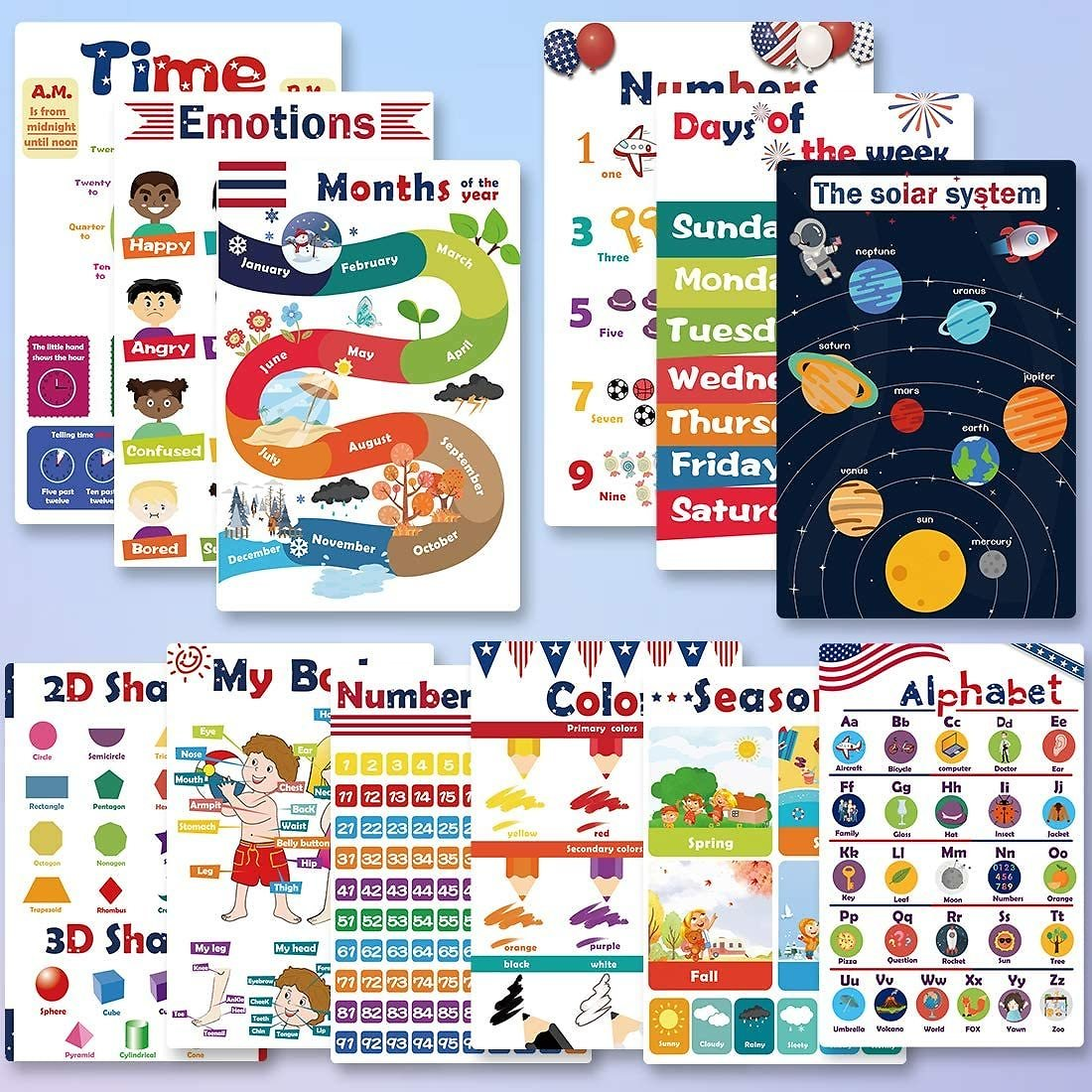 12 Pcs Educational Preschool Posters for Kids Toddlers, Early Learning Charts for Nursery Home School Kindergarten Classroom