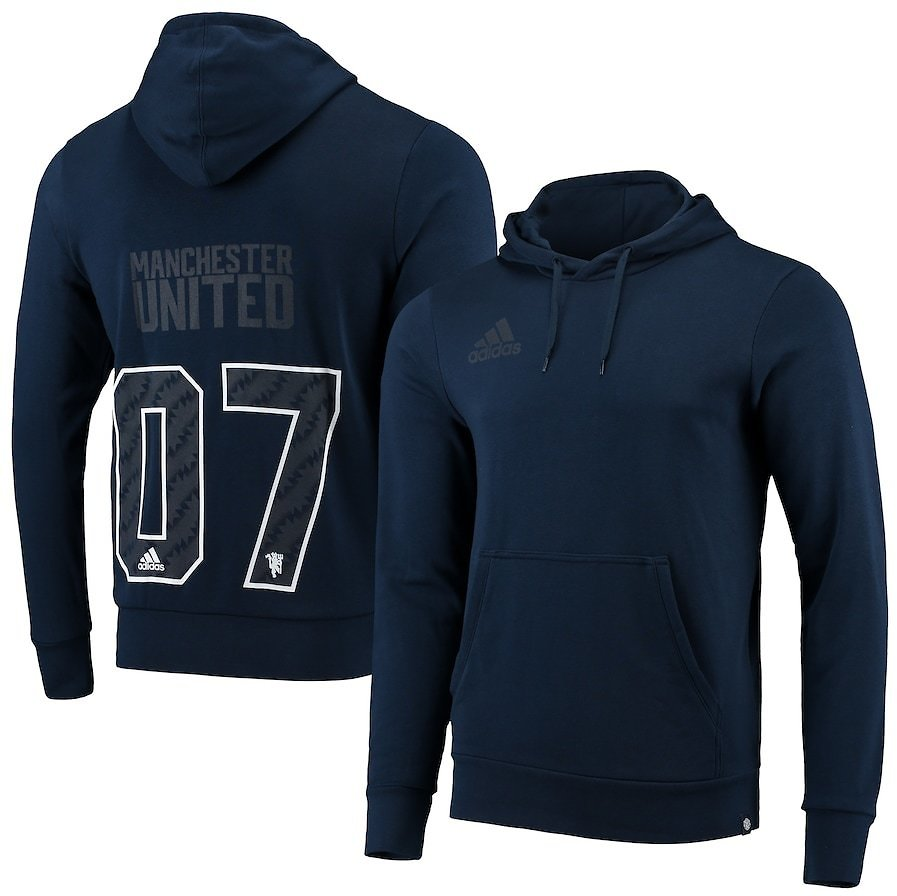 Men's Adidas Navy Manchester United Pullover Hoodie