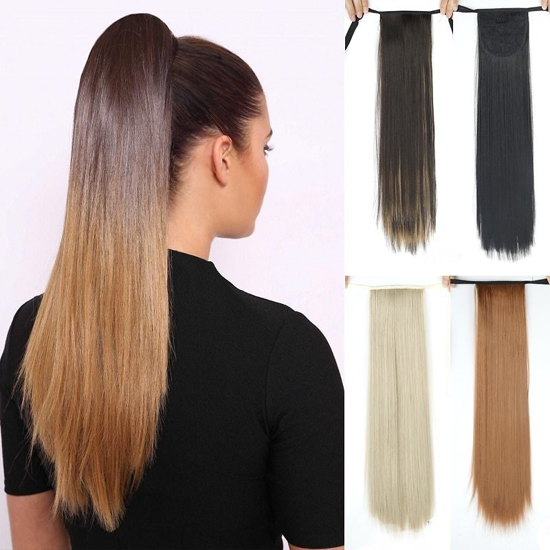 US $3.3 40% OFF Long Straight Clip In Tail False Hair Ponytail Hairpiece With Hairpins Synthetic Pony Tail Extensions Black Brown Headwear Synthetic Ponytails  - AliExpress