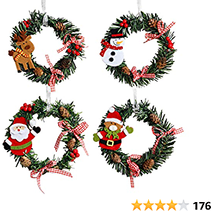 Orgrimmar 4 Pcs Christmas Pine Wreaths for Front Door Christmas Holiday Indoor Home Decor